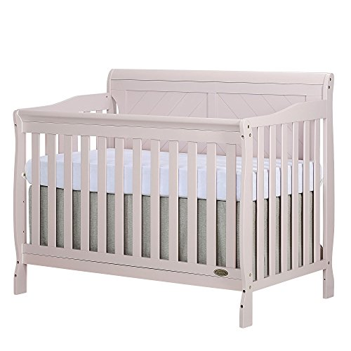 Dream On Me Ashton Full Panel Convertible 5 in 1 Crib in Blush Pink