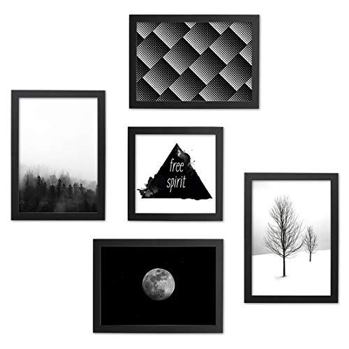 Conjunto Quadros Decorativos Preto e Branco Moldura Preta 74x74cm - Prolab Gift