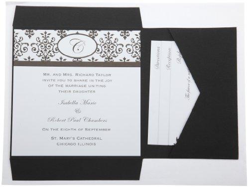 Amazon Wilton Black White Scroll Monogram Pocket Invitation – Black and White Wedding Invites