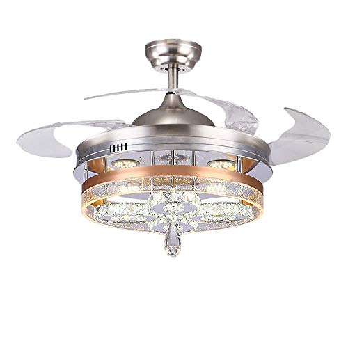 Huston Fan 42 Inch Decorative Ceiling Fan Light Remote Control Crystal Chandelier Fan With Retractable Blades Variable Light Indoor Bedroom Led Chandelier Living Room Ceiling Light (42 inch, Silver-A) Review