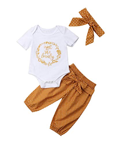 (Isnt She Lovely 0-18M Infant Newborn Baby Girl Short Sleeve Cotton Bodysuit Tops Floral Pant Headband (0-3 Months, Style)