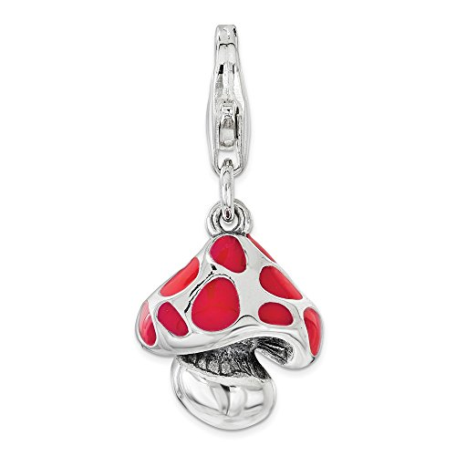 925 Sterling Silver Amore La Vita Pl Red Enameled Mushroom Pendant Charm Necklace Food Drink Outdoor Nature Fine Jewelry…