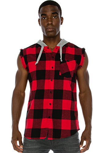 red and black hooded flannel - 8