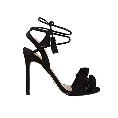 Tony Bianco Kalipso Heeled Sandals - with Slender Stiletto Heel and Wrap-Around Self-Tied Straps (6, Black Kid Suede)