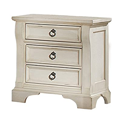 American Woodcrafters Heirloom Nightstand, Antique White - Finished In Antique White With Rub Through Highlights, Rasping And Worm Hole Distressing Crafted From Select Hardwoods And Veneers Drawers Feature English Dovetail Construction With Center Guided Metal Drawer Glides And Plastic Drawer Stops For Safety - nightstands, bedroom-furniture, bedroom - 41ONdw7gZeL. SS400  -