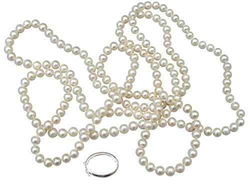 White Shanghai 6-7mm Cultured Pearl 135cm Long Necklace With A Sterling Silver Shortener by Pearls Paradise (Image #3)
