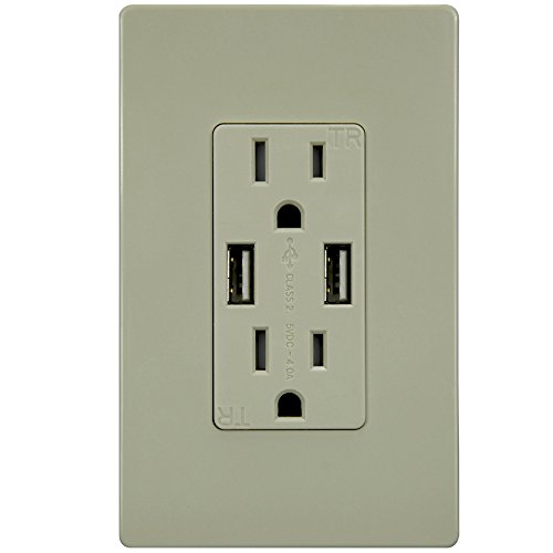 TOPGREENER TU2154A 4A High Speed Dual USB Charger Outlet 15A Tamper Resistant Receptacle & 2 Free Wall Plates, Ivory - 15a Tamper Resistant Receptacle