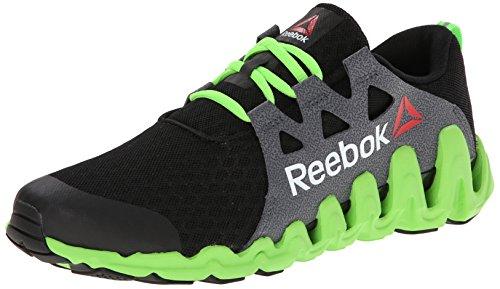 Reebok Men's Zigtech Big N Fast Running Shoe,Black/Solar Green/White,11.5 M US