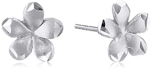 Earring Satin Womens (14k White Gold Satin Flower Stud Earrings)