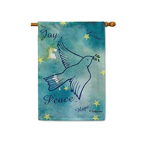 Bites Branch - KafePross A Pigeon Bite Olive Branch Flying to Peace Decorative House Flag Hope Joy Love Home Decor Banner for Inside and Outside 28x40 Inch Double Sided