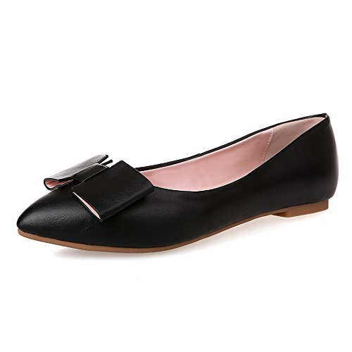 Material Pull Women's Shoes Pointed Black on Closed Toe WeenFashion Soft No Solid Heel Flats w6YIYRx