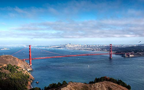 Wooden Adult Jigsaw 1000 Piece Majestic Golden Gate Bridge Pattern Very Challenging Adult and Teen Casual Jigsaw Puzzle, Large Size Puzzle 29.5x20in