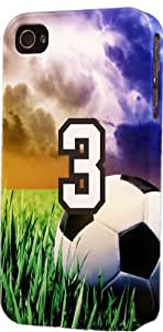 LINMM58281Soccer Sports Fan Player Number 3 Plastic Snap On Decorative iphone 5/5s CaseMEIMEI