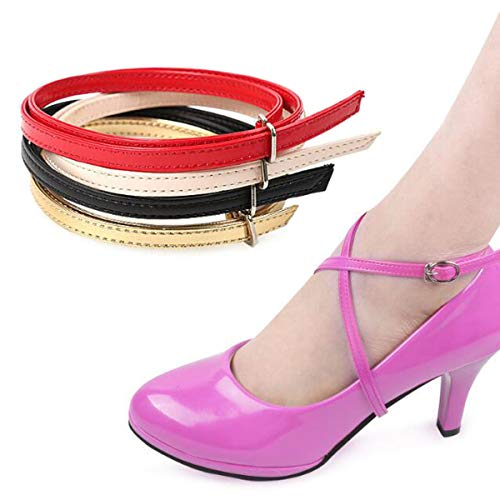 Ewanda store 5 Pairs Women's Long Detachable Suede Shoe Strap,Boat Shoe Anti Slip Shoe Straps High Heels Shoelace Accessories with Buckle(Red) (Red One Strap Heels)