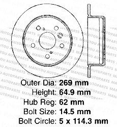 4 Semi-Metallic Pads-Toyota Lexus-5lug Rear Kit-2 OEM Replacement Disc Brake Rotors