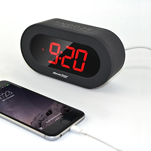 Reacher Easy Snooze and Time Setting Digital Alarm Clock, Charging Station Phone Charger with Dual USB Port, Battery Backup for android phone iphone tablet ipad (Black)