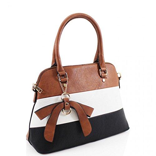 LeahWard Damenmode Bow Handtaschen Qualität Kunstleder Tote Schultertaschen Handtasche für Schulferien 2243 (BRAUN) BRAUN