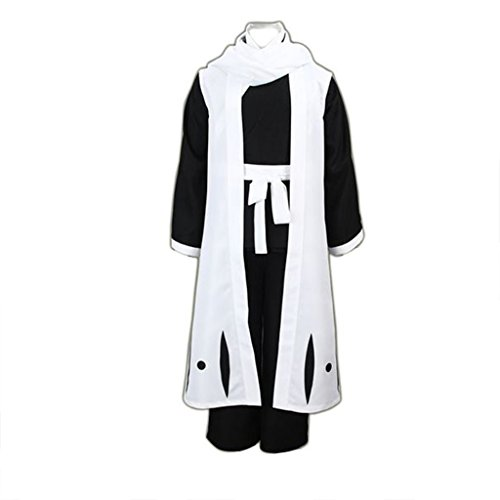 Bleach Cosplay Costumes Kuchiki Byakuya 6th Division Captain 3rd Ver, White/ Black