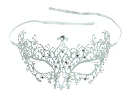 White Sexy Lace Design Venetian Metal Laser Cut Masquerade Ball Mask with Rhinestones