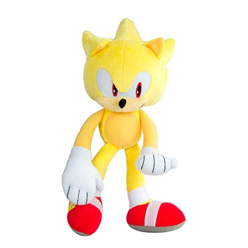 Modern Super Sonic Collector Large Plush | Highly Detailed & Embroidered Sonic Toy | Perfect for Kids Or Collectors | Features Iconic Pose & Modern Style | 12