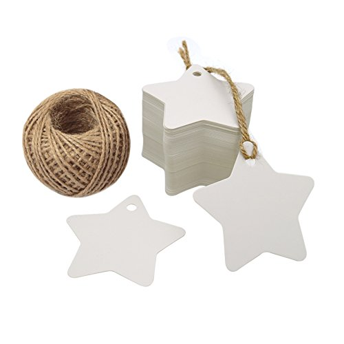 White Star Gift Tags,Blank Gift Tags with String,100 Pcs Kraft Paper Vintage Hang Tags With 100 Feet Natural Jute Twine
