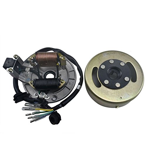 JCMOTO Magneto Stator Ignition Generator Plate Flywheel Assembly Kit 2-Coils For 50cc-125cc Dirt Pit Bike SSR SDG Zongshen Lifan