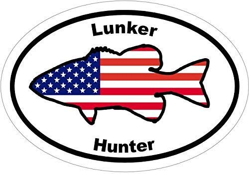 Fishing Decal - American Flag Lunker Hunter Largemouth Bass Vinyl Sticker - Fishing Bumper Sticker - Bass Decal - Bass Fishing Decal Perfect Fisherman Gift - Made in the USA Size: 4.7 x 3.3 inch