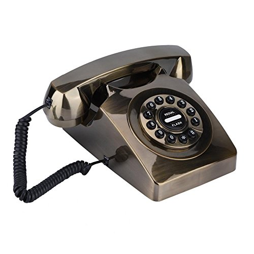 Antique Retro Western Style Telephone Fashionable Corded Phone Vintage Telephone Wall Mounted Phone with Numbers Storage & Rotary Dial Function for Home Classic Decoration(Brown) ()