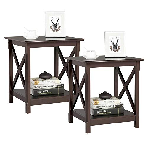 Yaheetech 2 Pcs Chairside Sofa/Couch Side End Tables with Shelf Coffee Table Nightstand for Living Room Bedroom Espresso