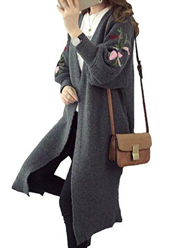 (エスティーリーフ)Esty leaf レディース 花柄 刺繍 ニット ロング カーディガン 長袖 ゆったり 膝丈 大きいサイズ 森ガール フリー 灰 グレー