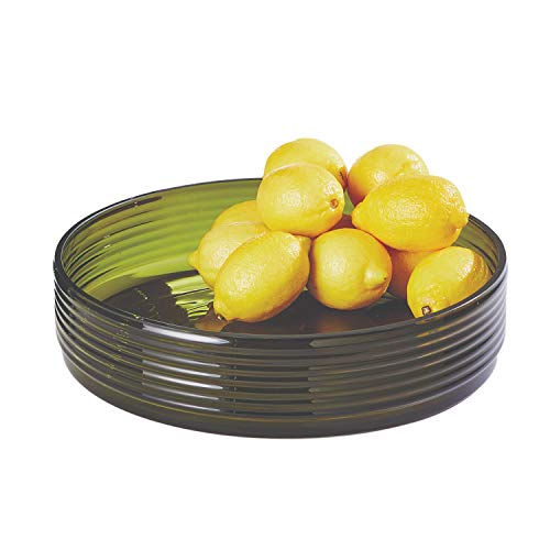 Global Views Ribbed Olive Green Art Glass Compote Bowl | Centerpiece Mid Century Modern (Art Compote Glass)