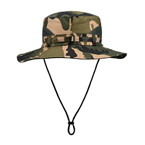 Bucket Hat Camo With String For Mens-Fishing Boonie Hats - UV-Resistant And Cool (camo 2) (Ranger Adult Accessory Kit)
