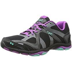 RYKA Women's Influence V 2 Training Shoe,Black/Sugar Plum/Vivid Aqua,7.5 M US