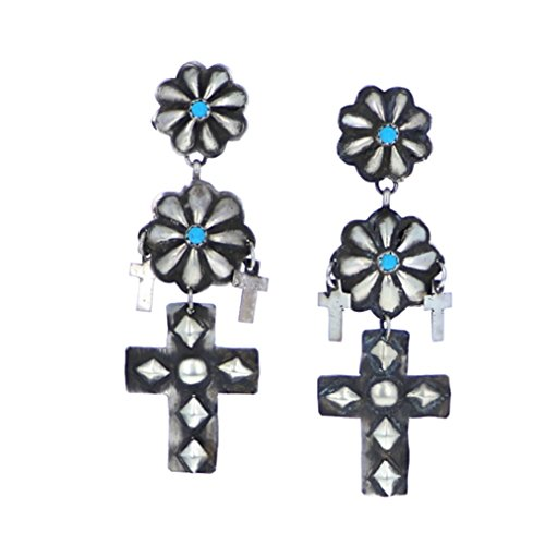 Sterling Silver 925 Sleeping Beauty Cross Earrings by Navajo Artistian Jewelry