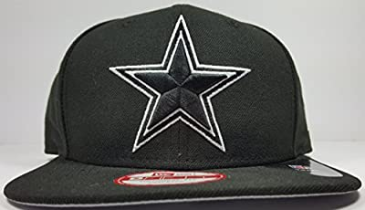 New Era Dallas Cowboys 9Fifty Black & White Basic Logo Adjustable On Field Snapback Hat NFL from New Era