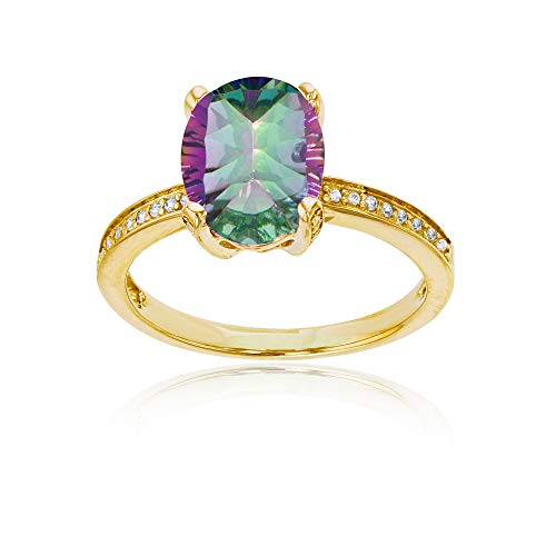 (14K Yellow Gold 0.08 CTTW Round Diamond Channel Set & 10x8 Oval Mystic Green Quartz Engagement Ring)