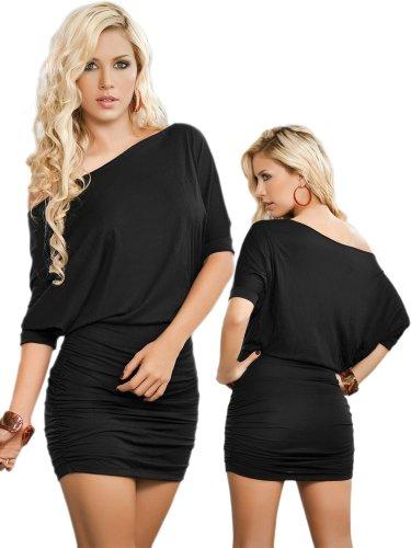 Sexy Black Off Shoulder Short Sleeve Mini Dress