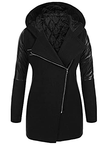 Soteer Women's Fashion Side Zipper Long Jacket Trench Coat Outwear with Pockets Black M - Zipper Trench
