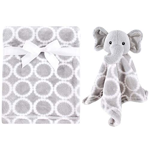 Hudson Baby Unisex Baby Plush Blanket with Security Blanket, Neutral Elephant 2 Piece, One Size