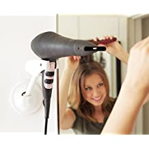 Hands Free Hair Dryer Holder - Patented Blow Drying Wall Mount Design - Stand Adjusts and Swivels
