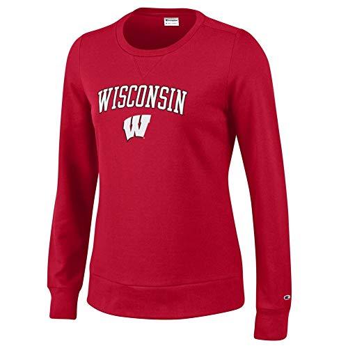 Elite Fan Shop Wisconsin Badgers Womens Crewneck Sweatshirt Scarlet - ()