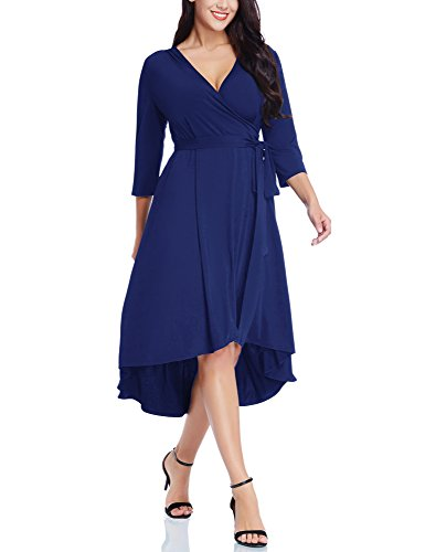 ACKKIA Women's Casual Plus Size V Neck 3/4 Sleeve Empire Waist Hi-Lo Drape Flowy Flare Assymetrical Midi Work Cocktail Semi Formal Wedding Guest True Wrap Dress for Women Royal Blue Size 2X (Cocktail Waist)
