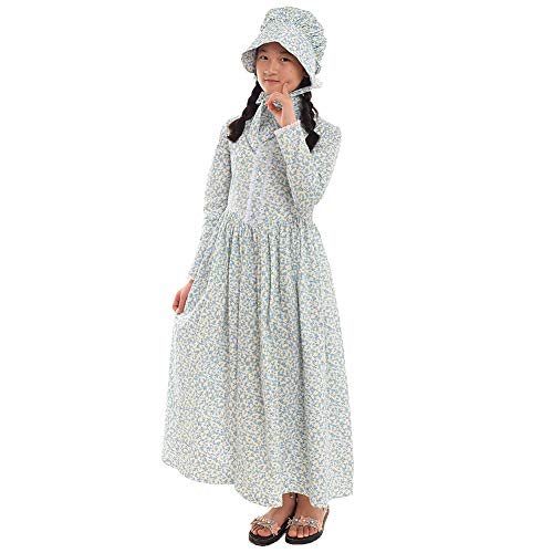 GRACEART Reenactment Pioneer Prairie Colonial Girl Costume 100% (Halloween School Girl Fancy Dress)