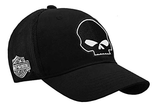 Harley-Davidson Willie G Skull Black Baseball Cap Stretch Fit BC119930 (Harley Ball Cap)