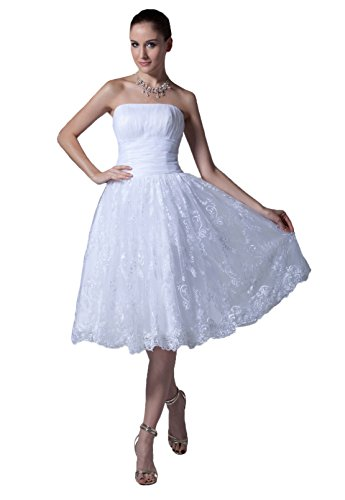 Snowskite Women's Strapless Short Lace Satin Beach Wedding Bridal Formal Dress Ivory 16