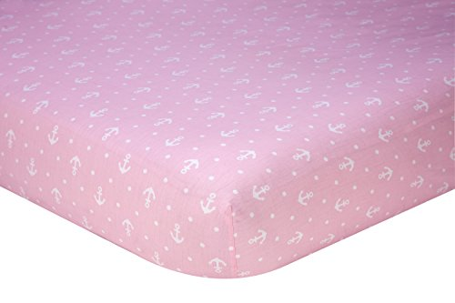Separates Anchor Print 100% Cotton Fitted Crib Sheet, Pink/White ()