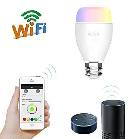 Bombilla Wifi LED ICOCO Luz RGB Regulable E27 6W control de voz mediante Amazon Alexa Echo 2.4 Ghz 6500K Temporizador inalámbrico controlada por APP ...