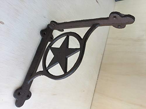 Western Star Shelf Brackets - DRD&M Set of 2 Southern Metal Rustic Texas Lone Star Shelf Brackets Heavy Cast Iron 7.38 x 1.5 x 7.38-Inches CI134
