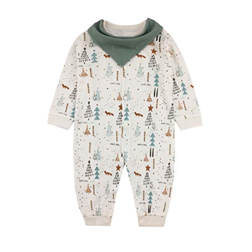 2f1686b85c173 Mum nny ベビー服 女の子 男の子 ロンパース カバーオール 長袖 前開き ビブ付き 新生児服 総柄 出産