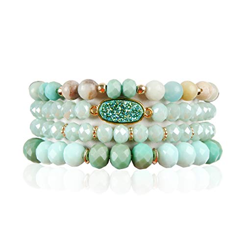 RIAH FASHION Bead Multi Layer Versatile Statement Bracelets - Stackable Beaded Strand Stretch Bangles Sparkly Crystal, Faux Druzy, Pave Fireball (Oval Acrylic Druzy - Mint)